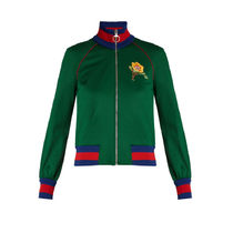GUCCI Flower and tiger-applique jersey bomber jacket