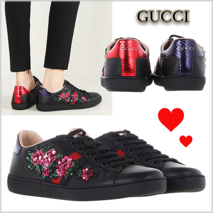 17th SS GUCCI Ace sequin embroidery with the inspired