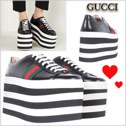 17th SS leather low top Platt form GUCCI sneakers