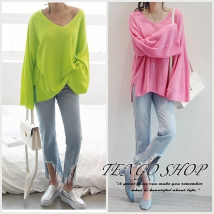 NANING9 vivid colors, bright v-neck loosely knit