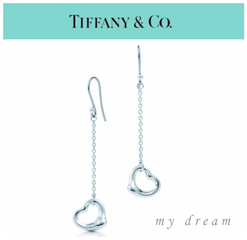 【Tiffany & Co】Elsa Peretti Open Heart Drop Earrings