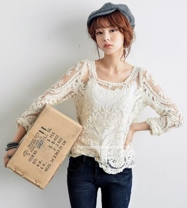 All the sea through vintage lace embroidery blouse