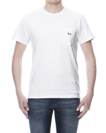 MAISON KITSUNE short sleeve T shirt White TRICOLOR FOX PATCH