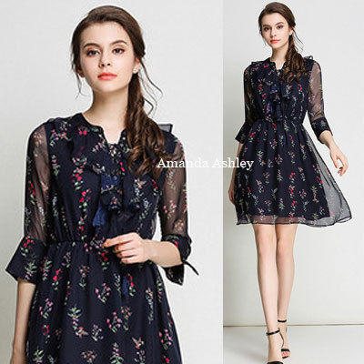 lace-up & drape style ruffle small floral chiffon dress
