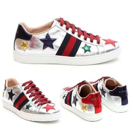 Gucci sneakers ACE star embroider silver