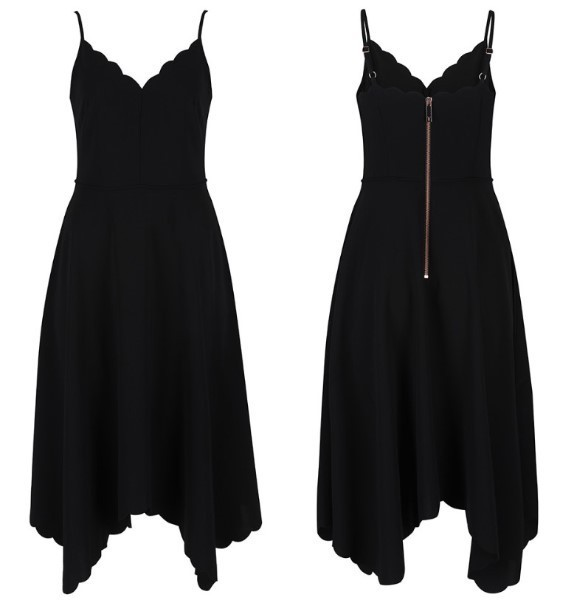 ★TED BAKER★ Simbah Scallop Asymmetric Hem Dress / Black