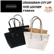 Coach Crossgrain City Zip Tote Leather トートバッグ F58846