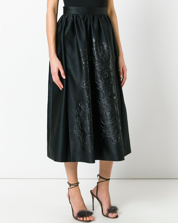 FE1523 LOOK26 BAROQUE FLOWER EMBOSSED MIDI SKIRT