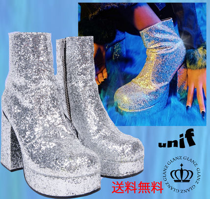 sold out upcoming Unif sparkly silver glitter boots heel
