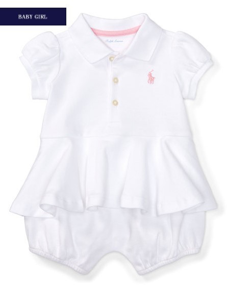 新作♪ 国内発送 3色COTTON PEPLUM POLO SHORTALL girls 0~24M
