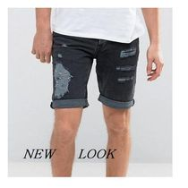☆New Look Slim Denim Shorts With Rips In Wash Black☆