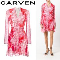 2017SS☆Carven☆フローラルプリント ワンピース Red