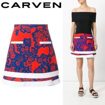 2017SS☆Carven☆フローラル柄 ミニスカート Blue & Red 台形