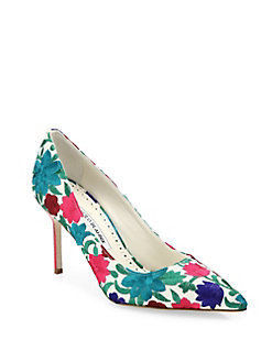 USA limited edition Manolo Blahnik BB90mm flower embroidered