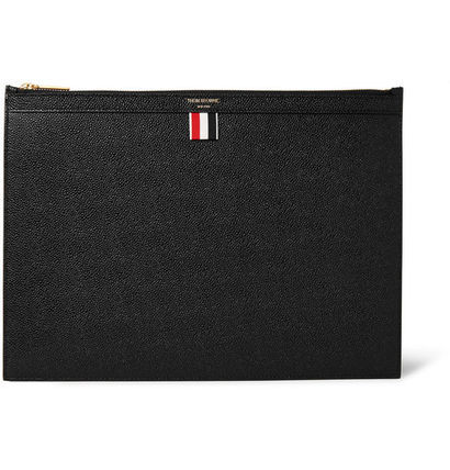 And THOM BROWNE Pebble-Grain clutch bag