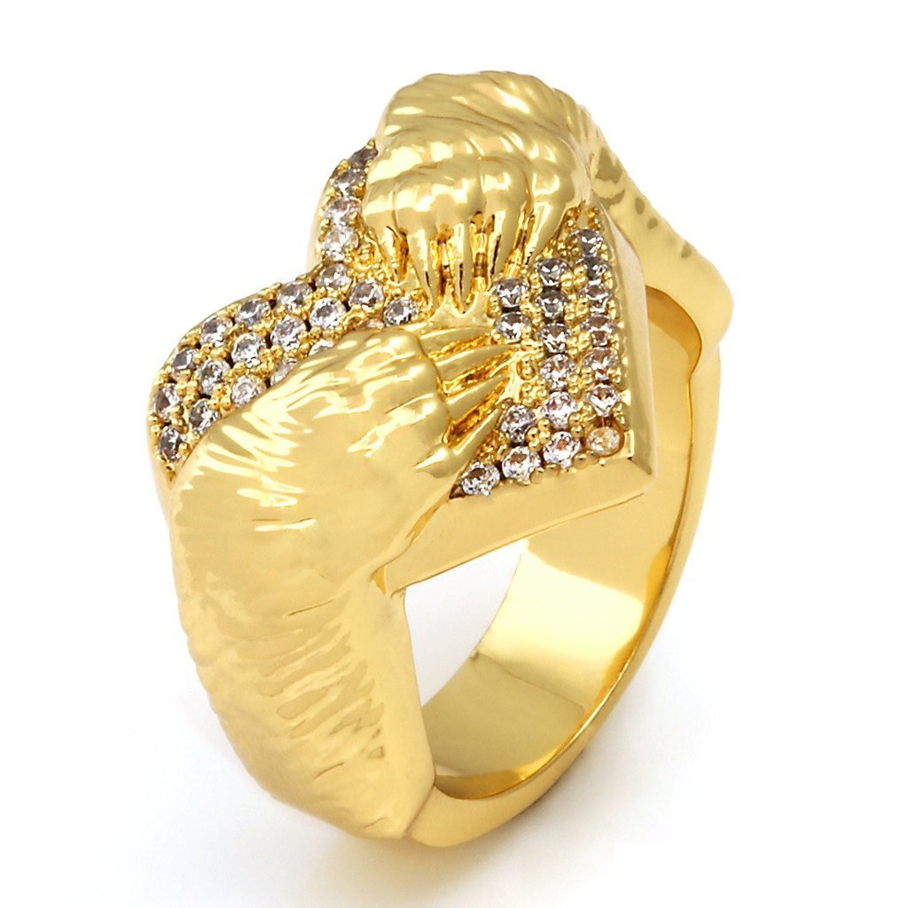 送料関税込・国内発送☆KING ICE☆14K Gold CZ Bear Hug Ring