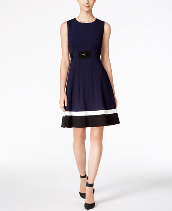 ☆Calvin Klein☆Petite Colorblocked Belted Fit & Flare Dress