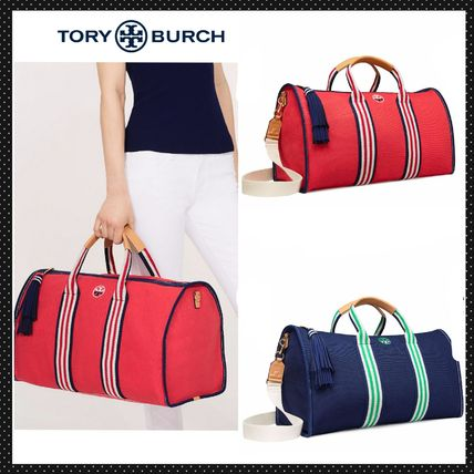 TORY BURCH◆キャンバス地旅行バッグ EMBROIDERED-T WEEKENDER