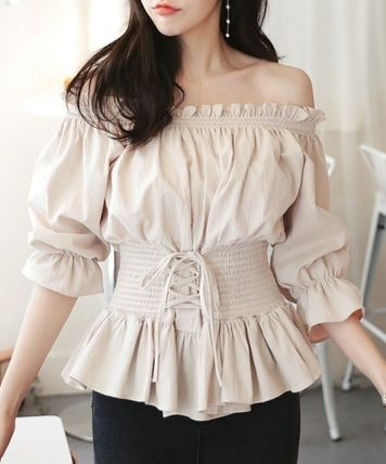 Offshore puff sleeve lace-up belt-style blouse