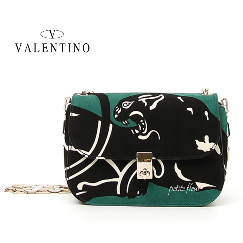 VALENTINO*2017SS*東京限定*パンサー柄 レザー チェーン バッグ