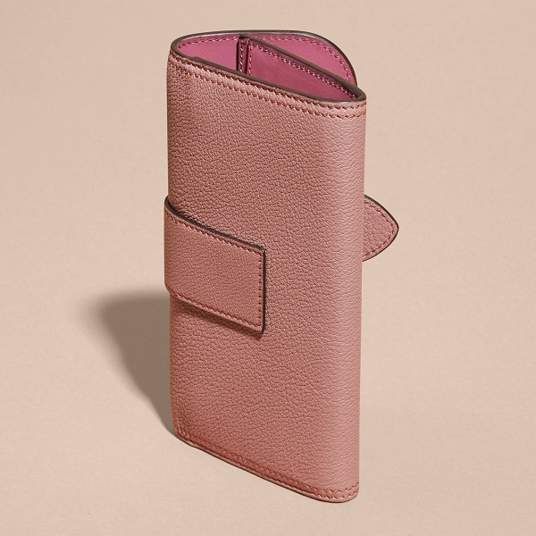 Burberry Textured Leather Continental Wallet Dusty Pink