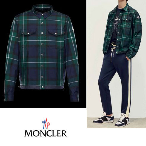 MONCLER*TRIONPHE メンズ チェックシャツジャケット 17SS 新作