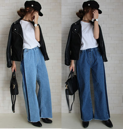 Easy Chin rubber-line wide pants