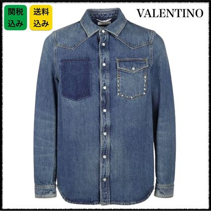 国内発★VALENTINO Untitled Rockstud DENIM SHIRT デニムシャツ