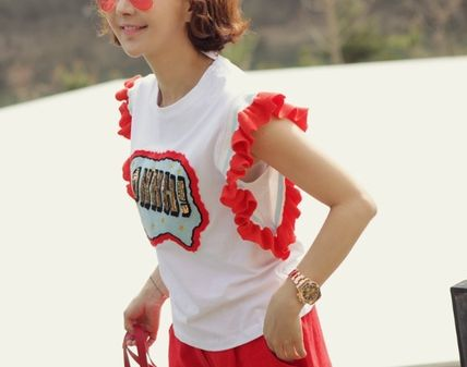 Logo of sequin ruffle-sleeved t-shirts Korea