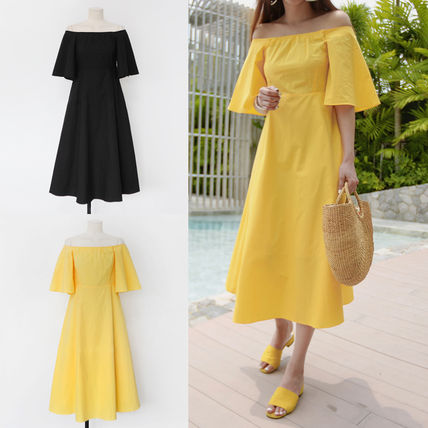 Off shoulder A line long dress all 047420
