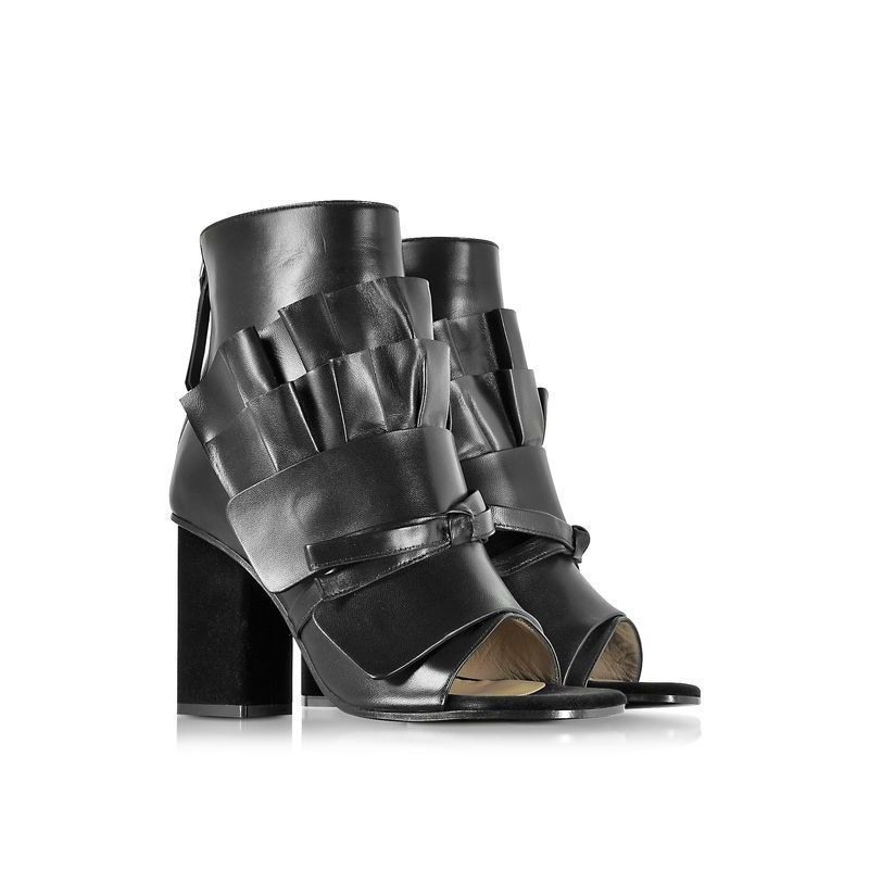 【Emilio Pucci(エミリオプッチ)】 Black Leather Ankle Boot