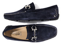 【関税負担】 Ferragamo navy suede loafer