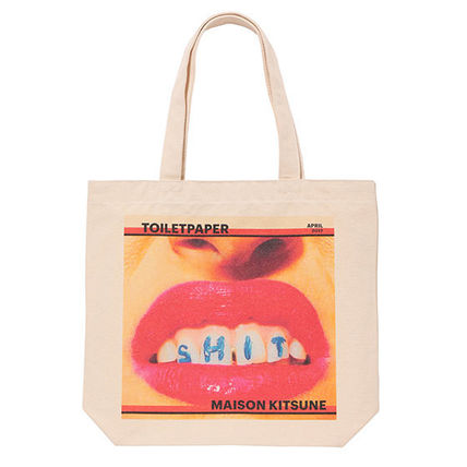 Maison KITSUNE toilet paper photo tote bag lips face