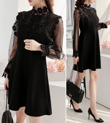 Floral lace embroidered sleeves, see-through dresses dress