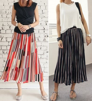 Multi-colored stripe wide pants all
