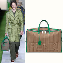 FE1550 LOOK9 TRAVEL BAG IN STRIPED CANVAS & LEATHER