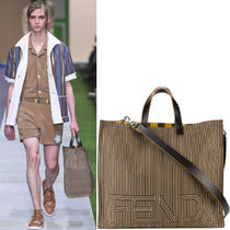 FE1552 LOOK16 LARGE TOTE IN STRIPED CANVAS & LEATHER