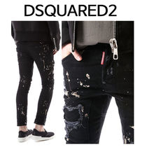 D SQUARED2 ★ PAINT SPOT BLACK JEANS SLIM BIKER FIT