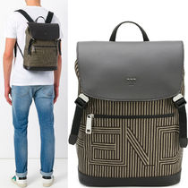 FE1560 BACKPACK IN STRIPED CANVAS & LEATHER