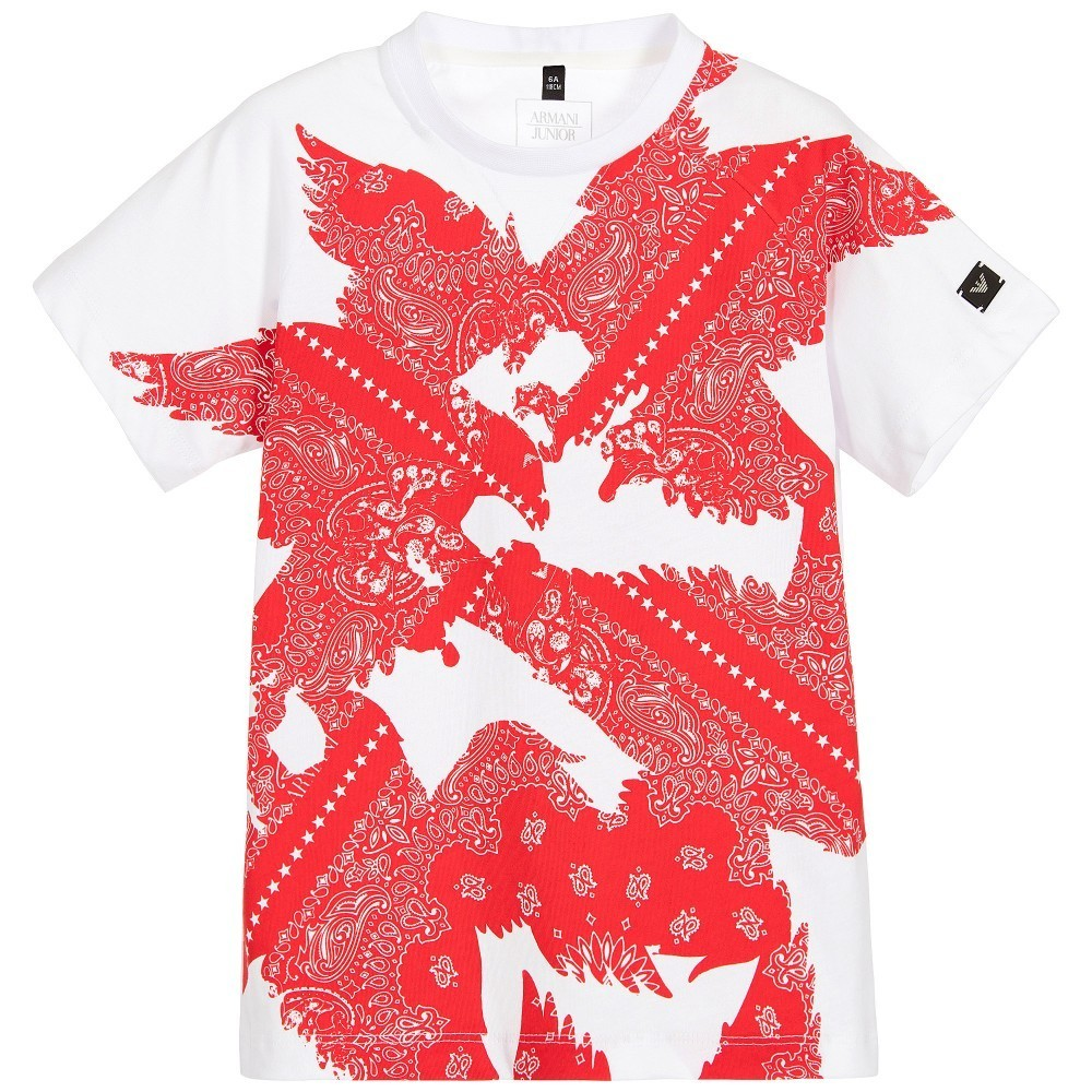 Armani Junior/ボーイズ White & Red ペイズリープリントTシャツ