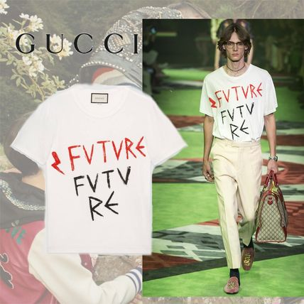 GUCCI Cotton T-shirt With Future Print
