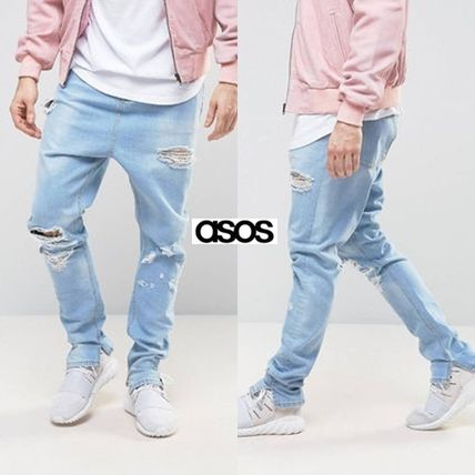 ASOS damage drop crotch Jogger pants denim women's harem