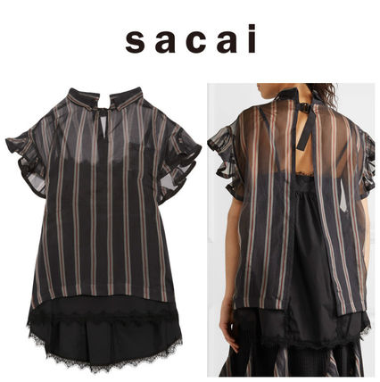 SACAI Sakai ruffled stripes create tops