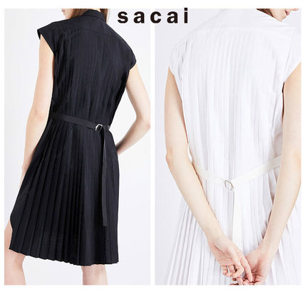 SACAI pleated back woven shirt dress black / white