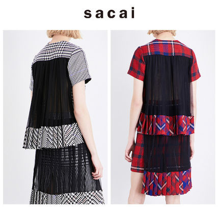 SACAI Sakai check cotton tops black / red