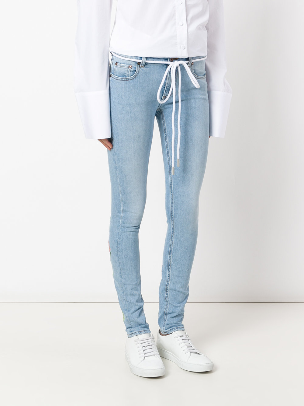 2017SS☆Off-White☆'Diagonals' tulip jeans