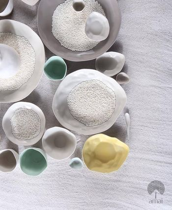 amai round plate color selectable 6 plate set w/box