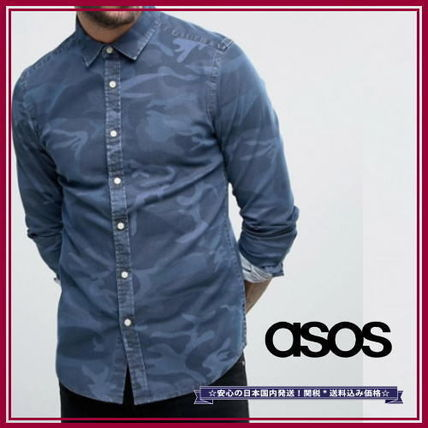 * ASOS * camouflage denim long sleeve shirt * Skinny