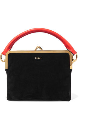 SACAI leather & suede shoulder bag