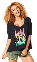 ZUMBA(ズンバ) フィットネストップス ◆4月新作◆Wild About Zumba Off the Shoulder  Back to Black